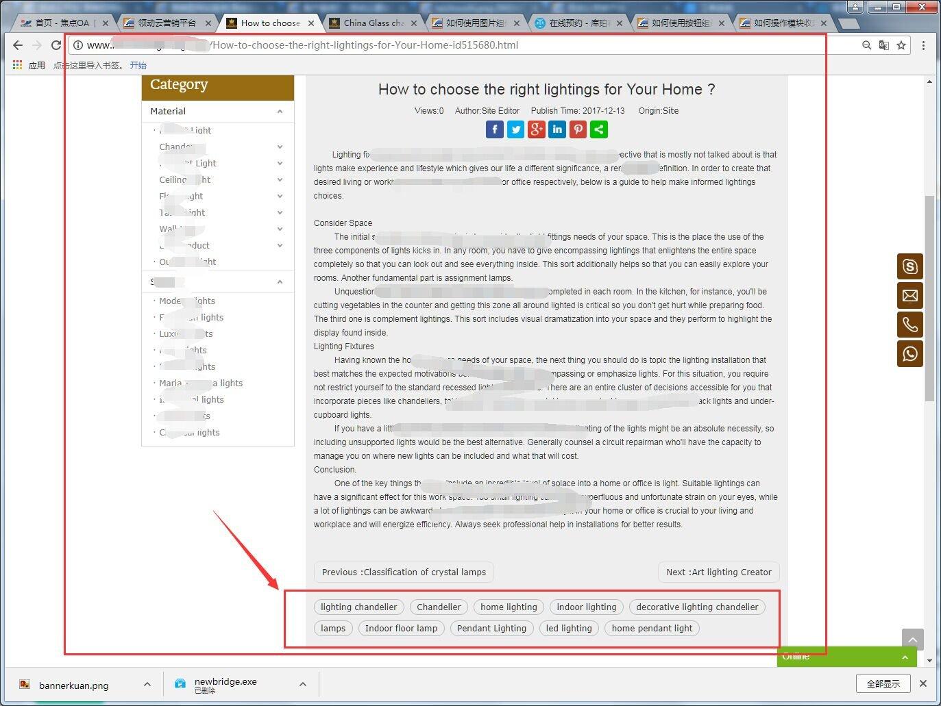 关键词在文章详情页面的展示效果